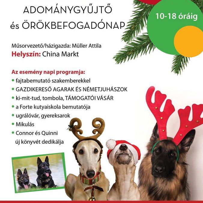 ADVENTI JÓTÉKONYSÁGI ADOMÁNYGYŰJTŐ ÉS ÖRÖKBE FOGADÓ NAP – 2019.12.08.